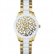 Guess Exotic Animal Print Dial stainless steel bracelet Ladies watch W0344L1