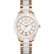 Guess Goddess white dial stainless steel bracelet Ladies watch W0074L2