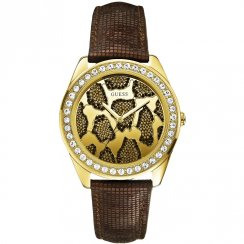 Guess Fierce gold dial leather strap Ladies watch W0056L2