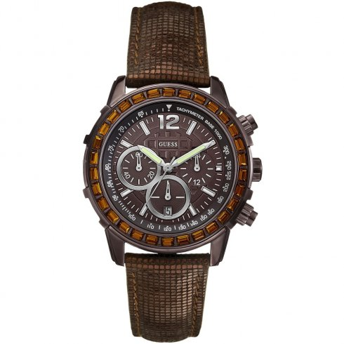 Guess Lady B brown dial chronograph leather strap Ladies watch W0017L4