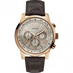 Guess Horizon grey dial chronograph leather strap Mens watch W0380G4