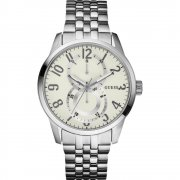 Guess Inner Circle cream dial stainless steel bracelet Mens watch W13100G2