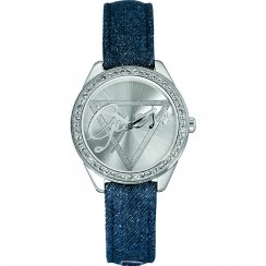 Guess Little Flirt silver dial leather strap Ladies watch W0456L1