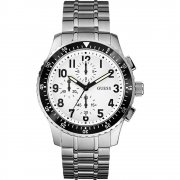 Guess Mission white dial chronograph stainless steel bracelet Mens watch W19007G1