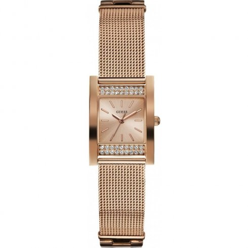 Guess Nouveau rose gold dial stainless steel mesh Ladies watch W0127L3