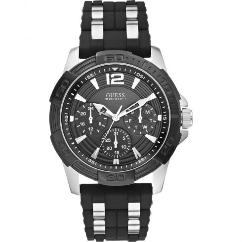 Guess Oasis black dial rubber strap Mens Watch W0366G1
