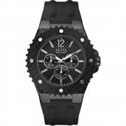 Guess Overdrive black dial resin strap Mens watch W11619G1