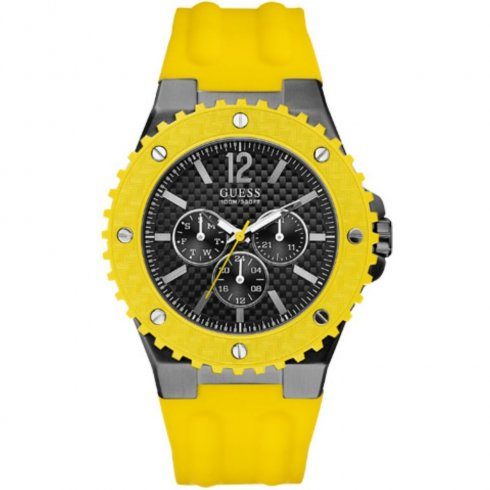 Guess Overdrive black dial resin strap Mens watch W11619G5