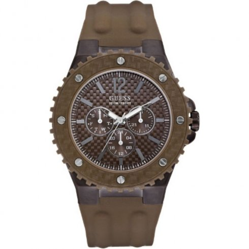 Guess Overdrive brown dial resin strap Mens watch W11619G3
