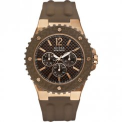 Guess Overdrive brown dial resin strap Mens watch W12653G2