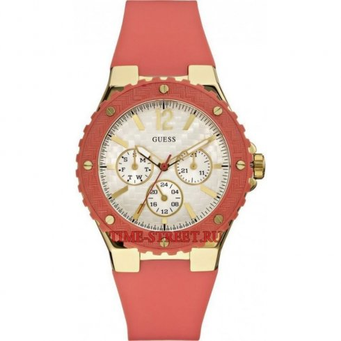 Guess Overdrive mother of pearl dial rubber strap Ladies watch W10614L1