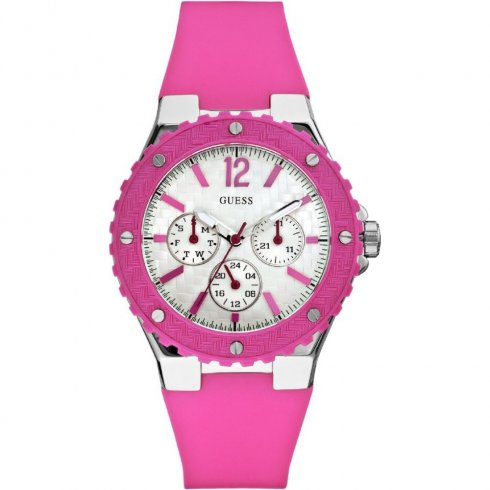 Guess Overdrive pink dial rubber strap Ladies watch W90084L2