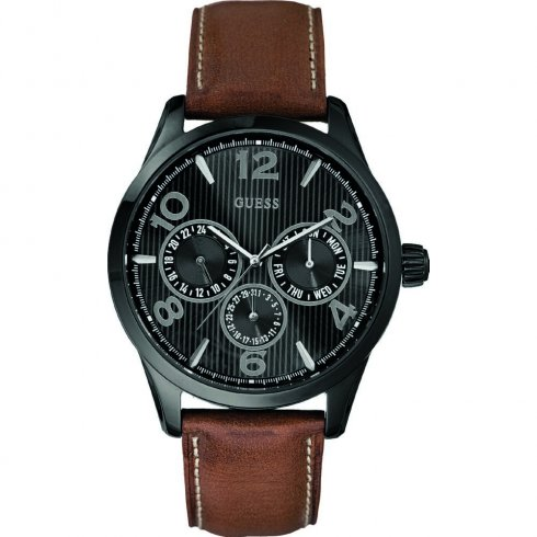 Guess Passage black dial leather strap Mens watch W0493G3