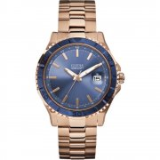 Guess Plugged blue dial stainless steel bracelet Mens watch W0244G3
