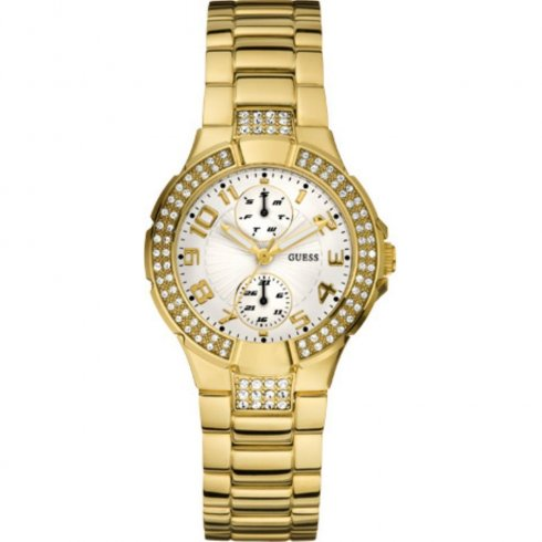 Guess Prism Silver Dial Gold Plated Bracelet Ladies Watch W15072L1