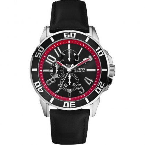 Guess Racer black dial leather strap Mens watch W10602G1