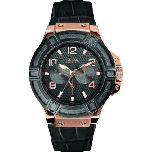 Guess Rigor black dial leather strap Mens watch W0040G5