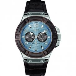 Guess Rigor blue dial leather strap Mens watch W0040G10