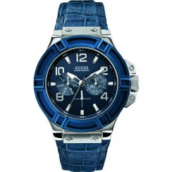 Guess Rigor blue dial leather strap Mens watch W0040G7