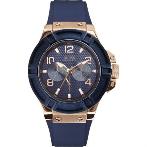 Guess Rigor blue dial rubber strap Mens watch W0247G3