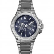 Guess Rigor blue dial stainless steel bracelet Mens watch W0218G2