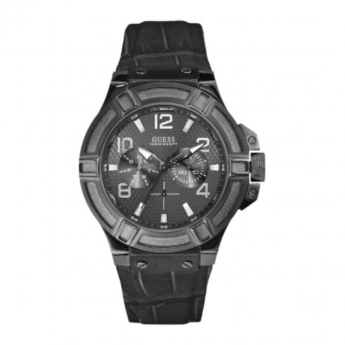 Guess Rigor grey dial leather strap Mens watch W0040G1