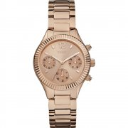 Guess Riviera Rose Gold Dial Stainless Steel Bracelet Ladies Watch W0323L3