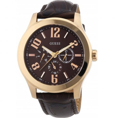 Guess Scout brown dial leather strap Mens watch W0008G3