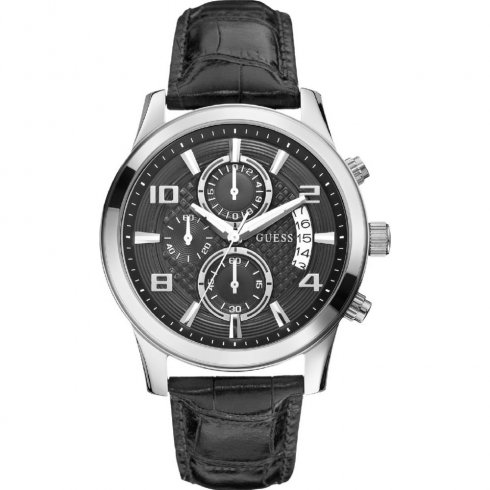 Guess Sports Chronograph black dial chronograph leather strap Mens watch W0076G1