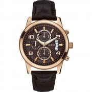 Guess Sports Chronograph brown dial chronograph leather strap Mens watch W0076G4