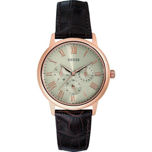 Guess Wafer champagne dial leather strap Mens watch W0496G1