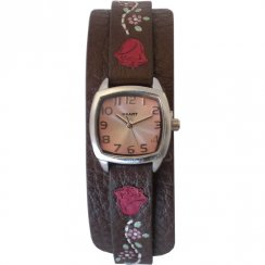Haart Pink Dial Floral Leather Cuff Strap Ladies watch A8780