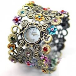Haart White Dial Floral Bangle Ladies Watch A4159
