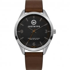 Hype Black Dial Steel Case Brown Strap Gents Watch HYG012BR