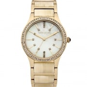Karen Millen Beige Dial Gold Bracelet with Inlay Ladies Watch KM128CGM