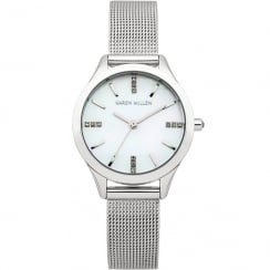 Karen Millen Mother of Pearl Dial Mesh Strap Ladies Watch KM140SMA