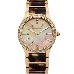 Karen Millen Rose Gold Dial Tortoise Inlay Bracelet Ladies Watch KM128GM
