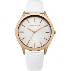 Karen Millen Silver Dial White Leather Strap Ladies Watch KM106WRGA