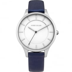Karen Millen White Dial Blue Leather Strap Ladies Watch KM133UA