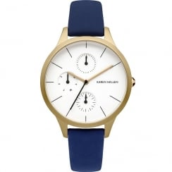 Karen Millen White Dial Blue Leather Strap Ladies Watch KM144UGA
