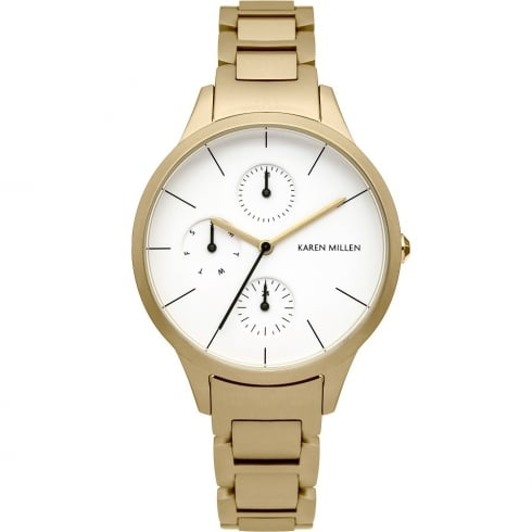 Karen Millen White Dial Gold Bracelet Ladies Watch KM144GM