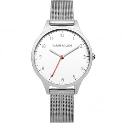 Karen Millen White Dial Mesh Strap Ladies Watch KM118SMA