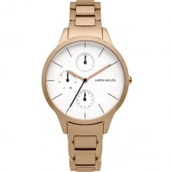 Karen Millen White Dial Rose Gold Bracelet Ladies Watch KM144RGM
