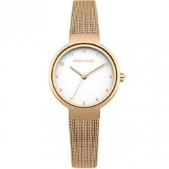 Karen Millen White Dial Rose Gold Mesh Ladies Watch KM160RGM