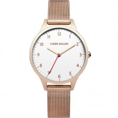Karen Millen White Dial Rose Gold Mesh Strap Ladies Watch KM118RGM