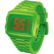L.E.D. Digital Chronograph Green Resin Strap Watch L69-098RD-LPU