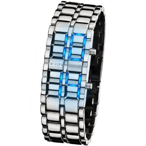 LEDz Blue LED Dial Chrome Bracelet Gents Watch LEDG001