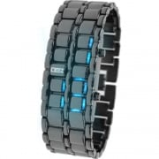 LEDz Blue LED Dial Gun Matel Bracelet Gents Watch LEDG011