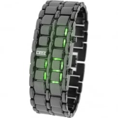 LEDz Green LED Dial Gun Matel Bracelet Gents Watch LEDG013