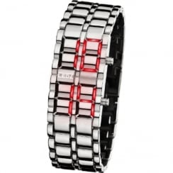 LEDz Red LED Dial Chrome Bracelet Gents Watch LEDG002